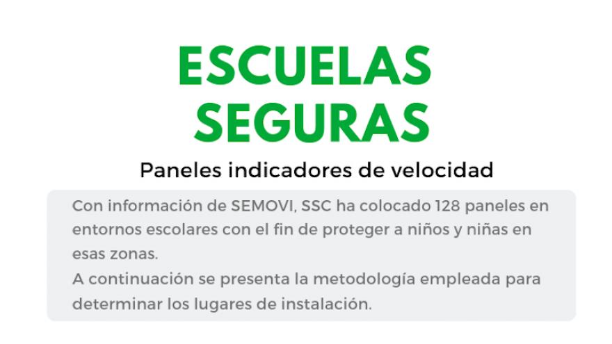 Por seguridad de la niñez, SEMOVI instala paneles de velocidad fuera de escuelas