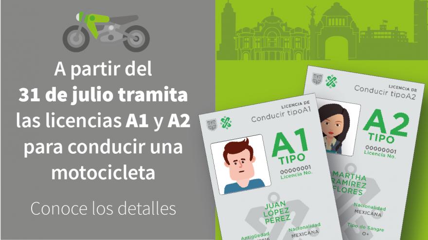 Expedición de Licencias A1 (motocicleta) y A2 (motocicleta y automóvil)
