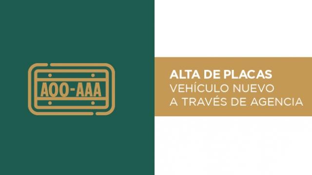 Alta de placas de Auto Nuevo a través de Agencia